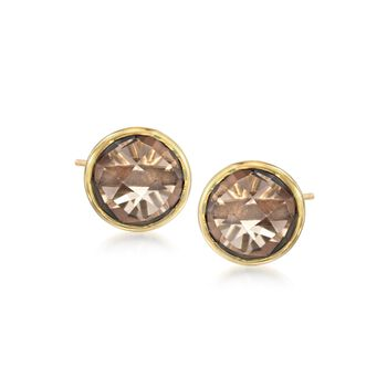 8.00 ct. t.w. Round Smoky Quartz Stud Earrings in 18kt Gold Over Sterling, , default