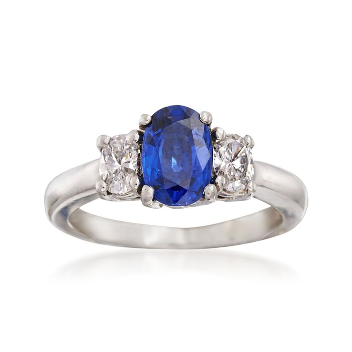 C. 2000 Vintage 1.25 Carat Sapphire and .40 ct. t.w. Diamond Ring in Platinum. Size 5.5, , default