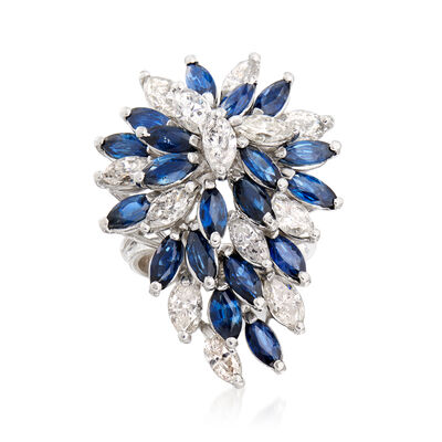 C. 1970 Vintage 4.00 ct. t.w. Sapphire and 3.15 ct. t.w. Diamond Cluster Ring in 18kt White Gold, , default