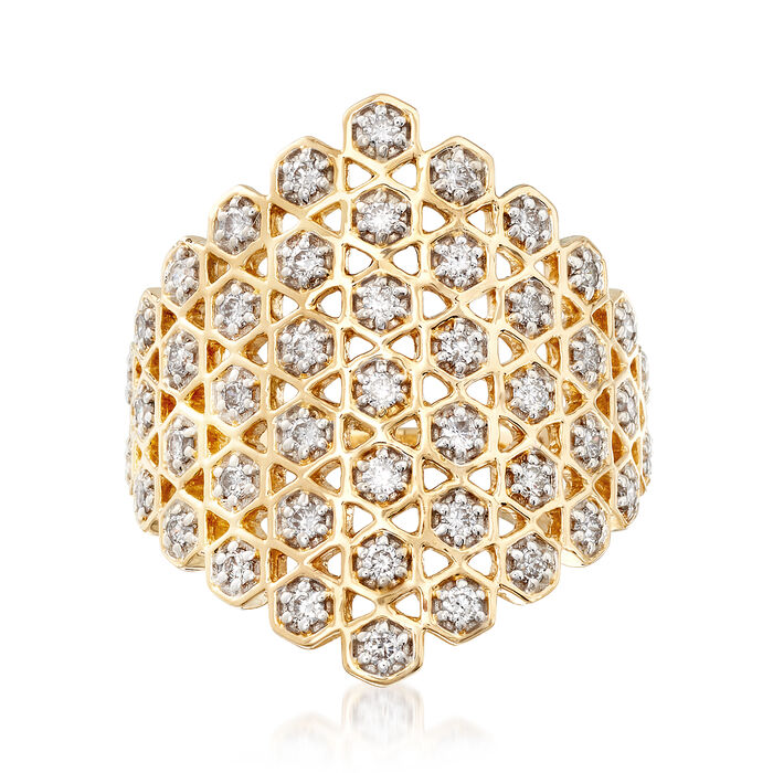 .65 ct. t.w. Diamond Honeycomb Ring in 14kt Yellow Gold, , default