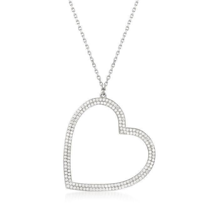 .80 ct. t.w. CZ Heart Necklace in Sterling Silver
