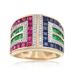 4.06 ct. t.w. Multi-Stone Ring in 14kt Yellow Gold, , default