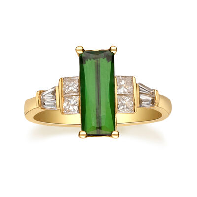 1.60 ct. t.w. Green Tourmaline and .54 ct. t.w. Diamond Ring in 14kt Yellow Gold