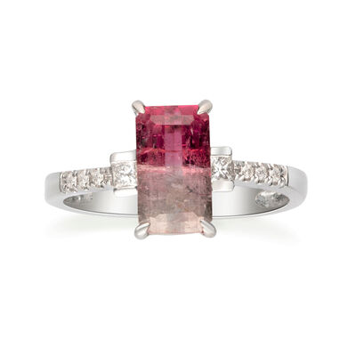 1.90 Carat Watermelon Tourmaline and .13 ct. t.w. Diamond Ring in 14kt White Gold