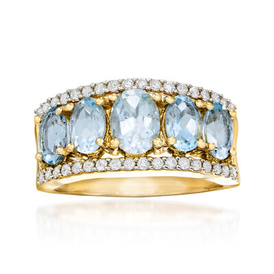 2.00 ct. t.w. Aquamarine and .44 ct. t.w. Diamond Ring in 14kt Yellow Gold, , default