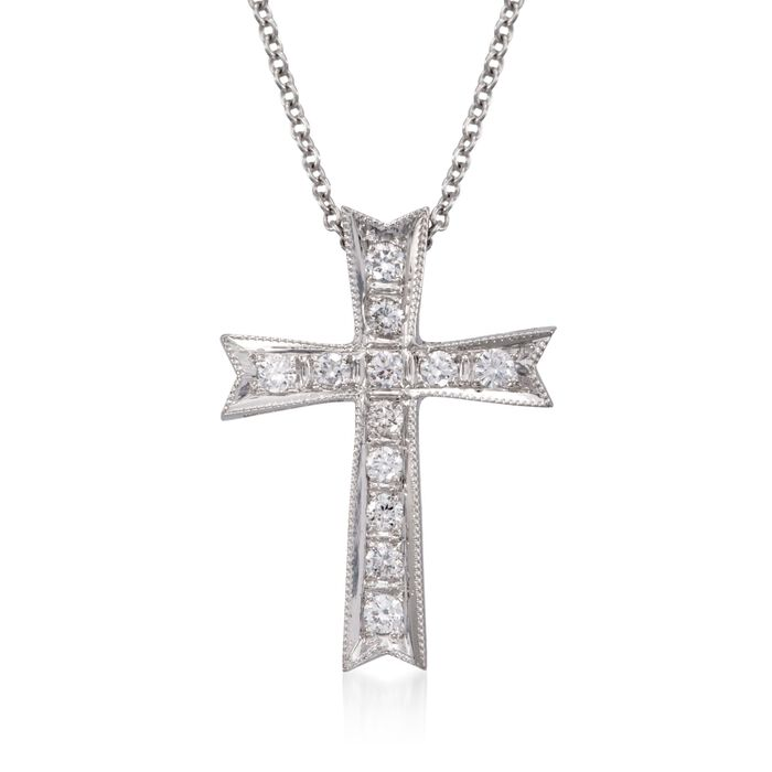 Simon G. .21 ct. t.w. Diamond Cross Pendant Necklace in 18kt White Gold