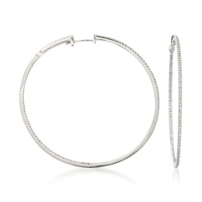 .75 ct. t.w. Diamond Inside-Outside Hoop Earrings in 14kt White Gold, , default