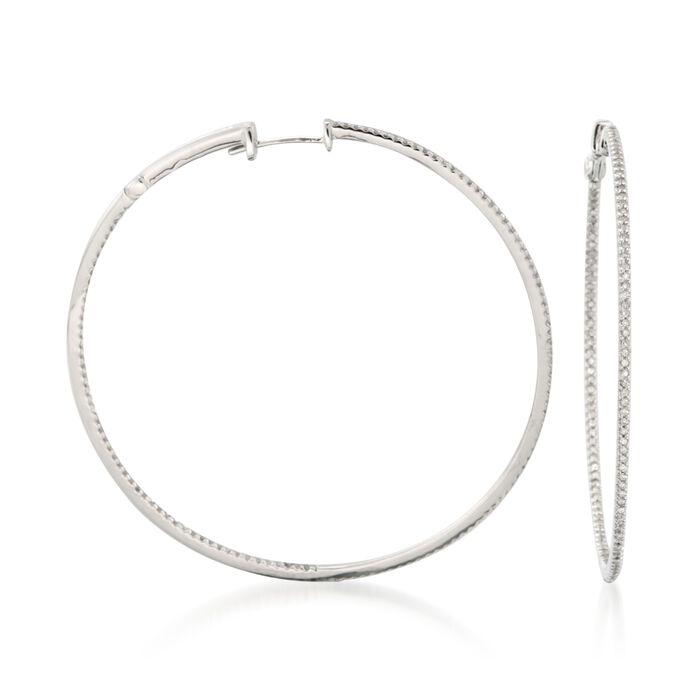 """.75 ct. t.w. Diamond Inside-Outside Hoop Earrings in 14kt White Gold. 1 7/8"""""""