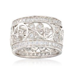 1.35 ct. t.w. CZ Open-Space Floral Eternity Band in Sterling Silver, , default