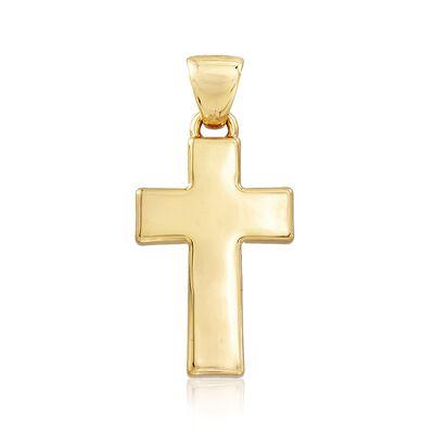 Italian Andiamo 14kt Yellow Gold Cross Pendant, , default