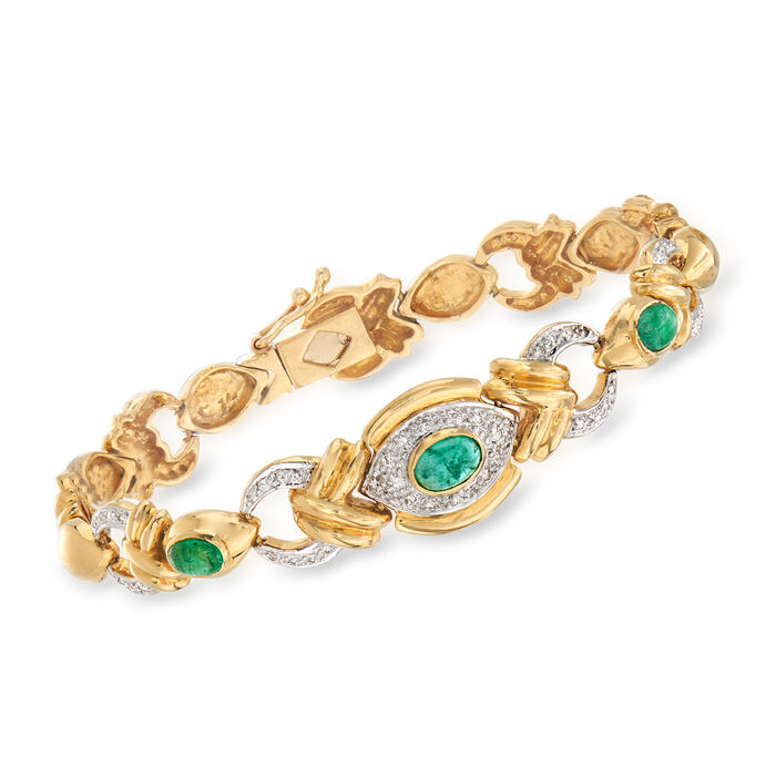 "C. 1980 Vintage 1.65 ct. t.w. Emerald and .15 ct. t.w. Diamond Link Bracelet in 14kt Yellow Gold. 7.5"", , default"