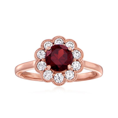 C. 1990 Vintage 1.43 Carat Garnet and .50 ct. t.w. Diamond Flower Ring in 14kt Rose Gold
