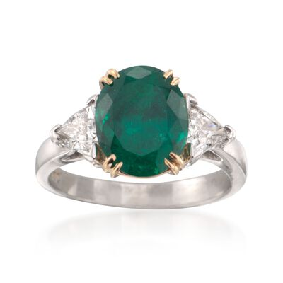 C. 1990 Vintage 2.90 Carat Emerald and 1.01 ct. t.w. Diamond Three-Stone Ring in Platinum