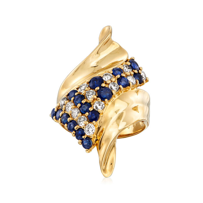 C. 1990 Vintage 1.71 ct. t.w. Sapphire and .70 ct. t.w. Diamond Bypass Ring in 18kt Yellow Gold