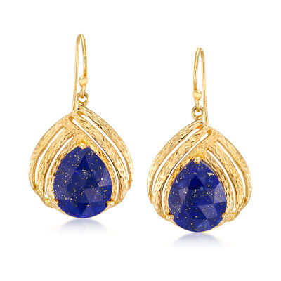 Lapis Drop Earrings in 18kt Gold Over Sterling, , default
