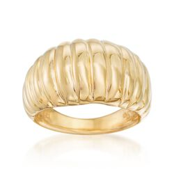 Italian 18kt Yellow Gold Ribbed Dome Ring, , default