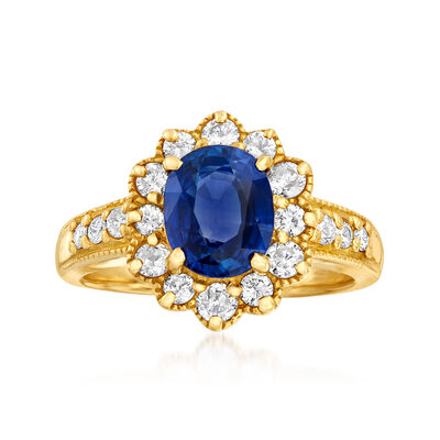 C. 1980 Vintage 2.15 Carat Sapphire and .62 ct. t.w. Diamond Ring in 18kt Yellow Gold