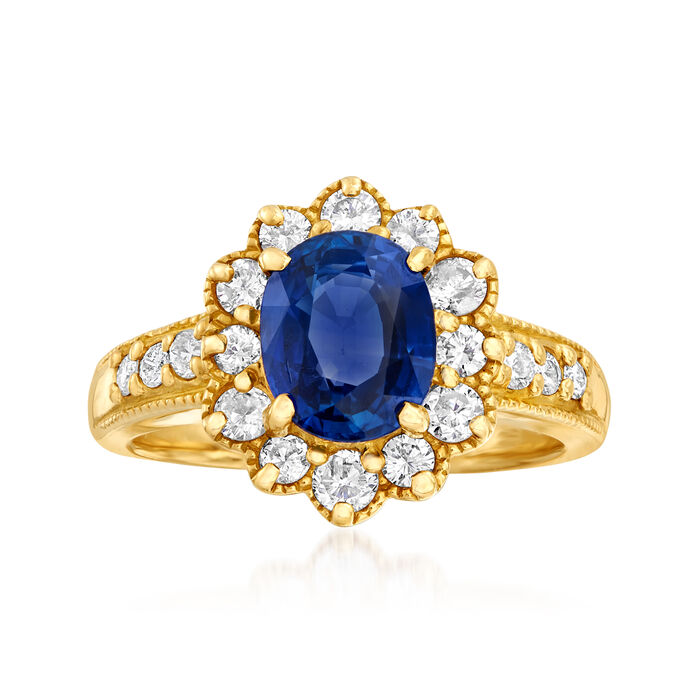 C. 1980 Vintage 2.15 Carat Sapphire and .62 ct. t.w. Diamond Ring in 18kt Yellow Gold. Size 5.75