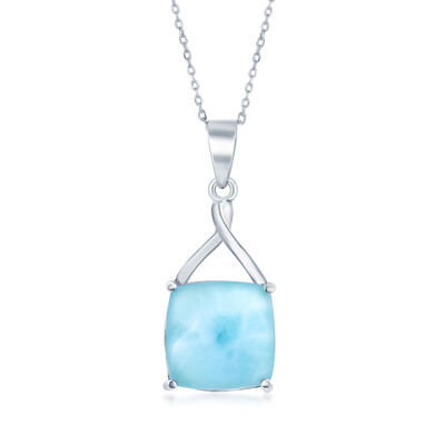 Cabochon Larimar Pendant Necklace in Sterling Silver, , default