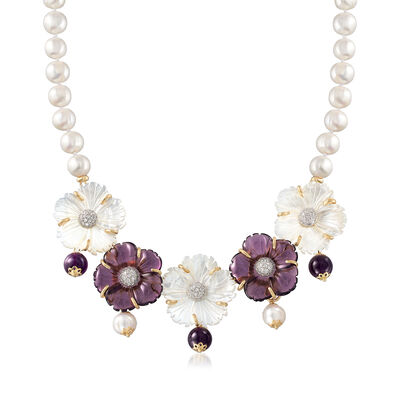 Italian Mother-Of-Pearl and Amethyst Necklace With Cultured Pearls in 18kt Gold Over Sterling, , default