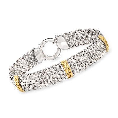 Sterling Silver and 14kt Yellow Gold Bismark-Link Bracelet