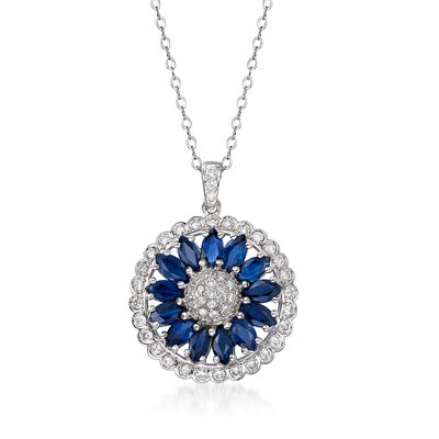 C. 1990 Vintage 3.00 ct. t.w. Sapphire and 1.05 ct. t.w. Diamond Flower Pendant Necklace in 18kt White Gold