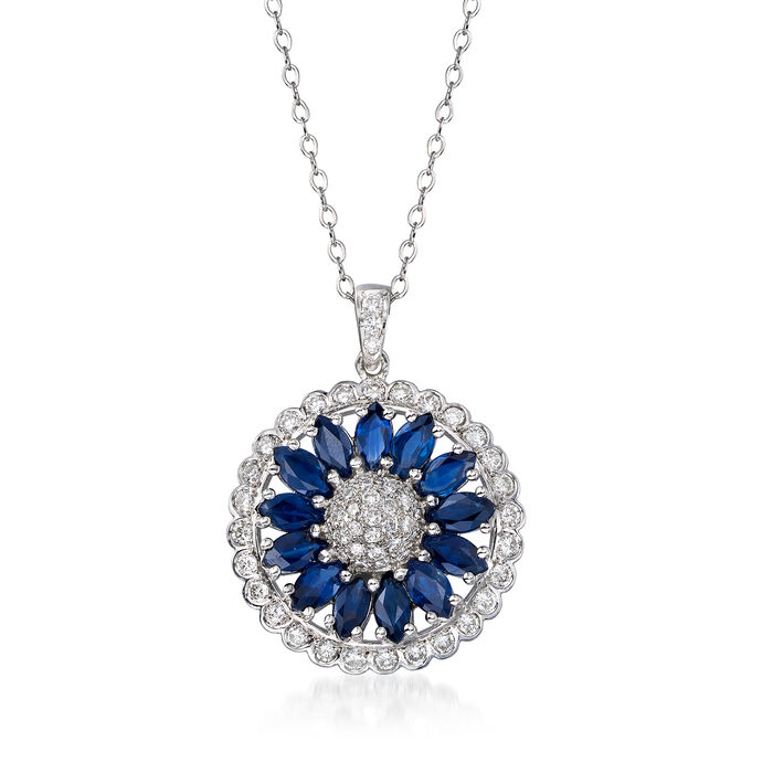 """C. 1990 Vintage 3.00 ct. t.w. Sapphire and 1.05 ct. t.w. Diamond Flower Pendant Necklace in 18kt White Gold. 18"""", , default"""