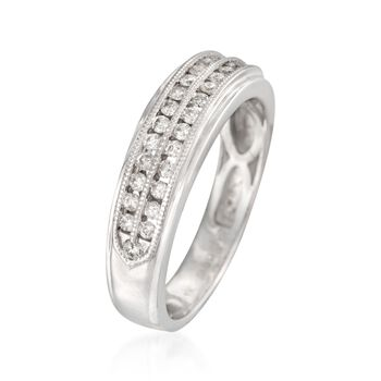 Men's .50 ct. t.w. Diamond Milgrain Wedding Ring in 14kt White Gold, , default