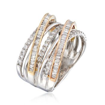 1.01 ct. t.w. Diamond Highway Ring in 14kt Tri-Colored Gold, , default