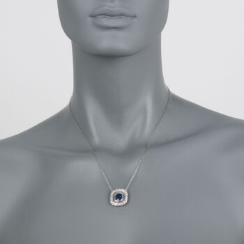 "C. 2000 Vintage 2.70 Carat Sapphire and .60 ct. t.w. Diamond Necklace in Platinum. 18"", , default"