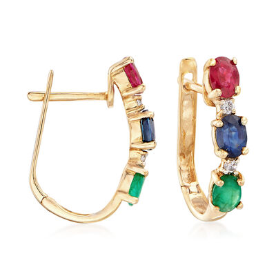 1.30 ct. t.w. Multi-Gem Drop Earrings in 14kt Yellow Gold