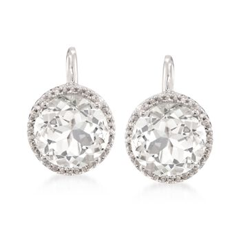 7.75 ct. t.w. White Topaz Earrings With Diamond Accents in Sterling Silver, , default