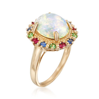 Opal and .50 ct. t.w. Multi-Stone Ring in 14kt Yellow Gold