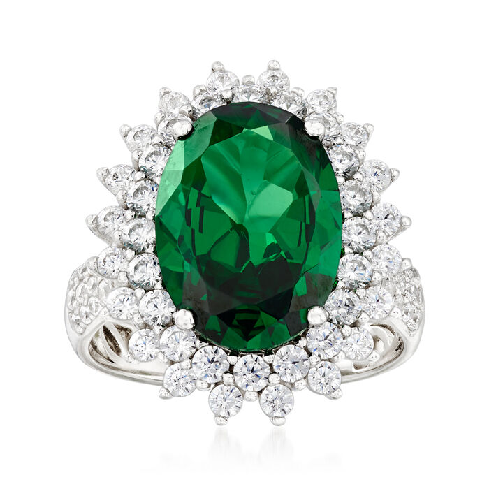 5.50 ct. t.w. Simulated Emerald and 1.30 ct. t.w. CZ Ring in Sterling Silver, , default