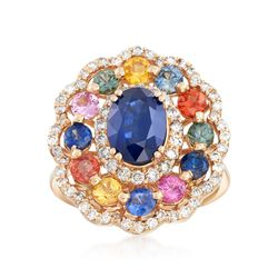 3.70 ct. t.w. Multicolored Sapphire and .70 ct. t.w. Diamond Ring in 14kt Yellow Gold, , default