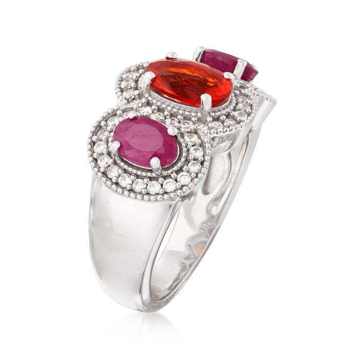 Orange Opal, 1.10 ct. t.w. Ruby and .40 ct. t.w. White Topaz Ring in Sterling Silver