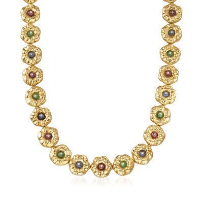 C. 1990 Vintage Rossetti Multi-Gemstone Flower Necklace in 18kt Yellow Gold, , default