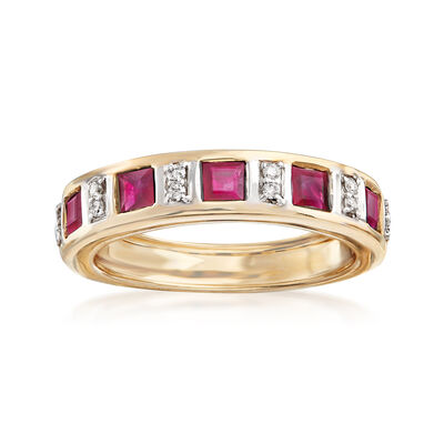 1.10 ct. t.w. Ruby Ring with Diamond Accents in 14kt Yellow Gold, , default