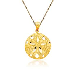 "14kt Yellow Gold Sand Dollar Pendant Necklace. 18"", , default"