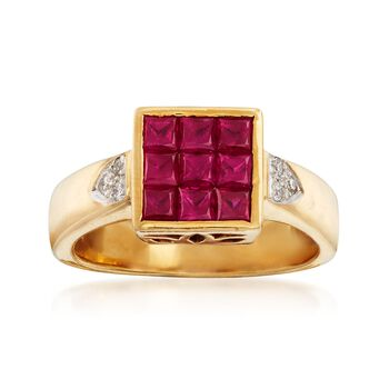 C. 1990 Vintage 1.15 ct. t.w. Ruby Square-Top Ring With Diamond Accents in 18kt Gold. Size 6.75, , default