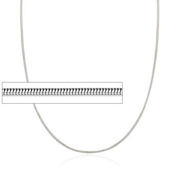 """1.4mm 14kt White Gold Snake Chain Necklace. 18"""", , default"""