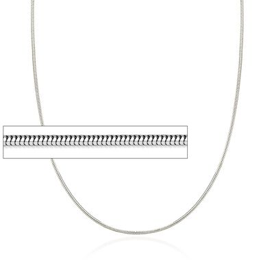 1.4mm 14kt White Gold Snake Chain Necklace, , default