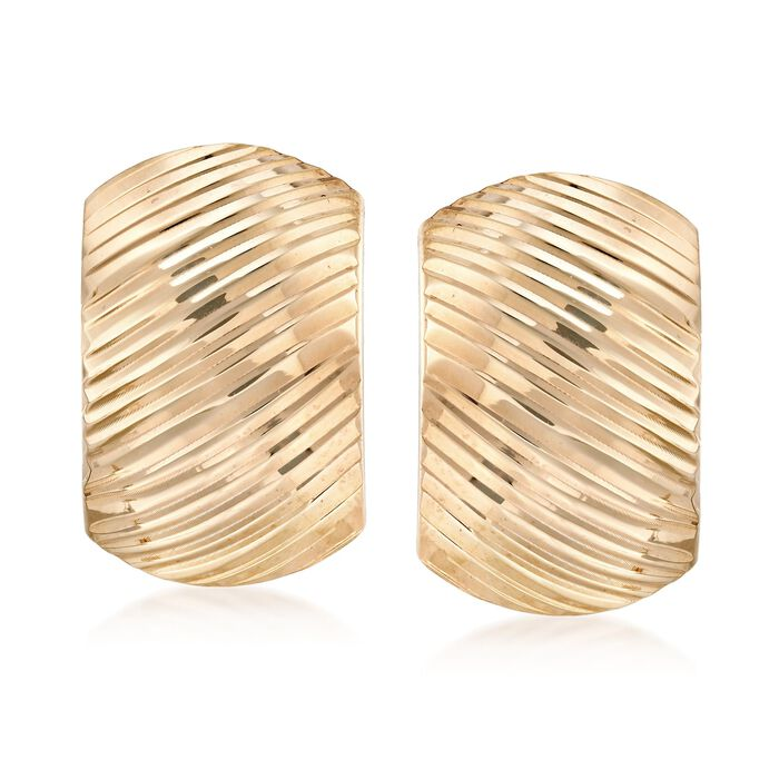18kt Gold Over Sterling Silver Ridged Curve Earrings, , default