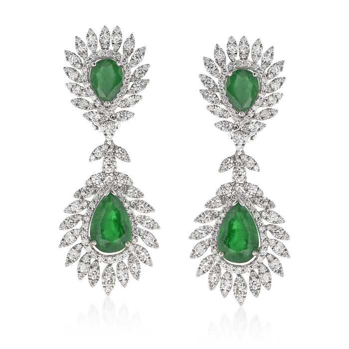 6.00 ct. t.w. Emerald and 4.55 ct. t.w. Diamond Drop Earrings in 18kt White Gold, , default