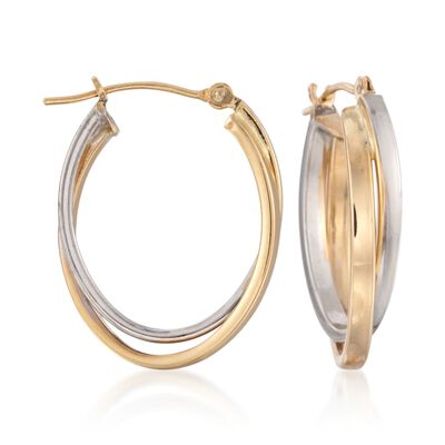14kt Two-Tone Gold Oval Double Hoop Earrings, , default
