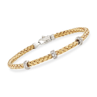 Simon G. .32 ct. t.w. Diamond Three-Station Woven Bangle Bracelet in 18kt Yellow Gold