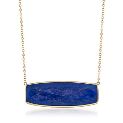 Lapis Bar Necklace in 14kt Yellow Gold, , default