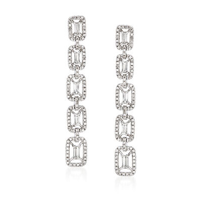 1.02 ct. t.w. Diamond Linear-Link Drop Earrings in 18kt White Gold