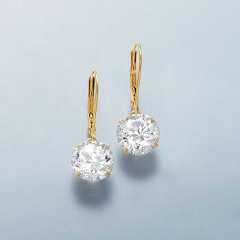 6.00 ct. t.w. CZ Drop Earrings in 14kt Yellow Gold, , default