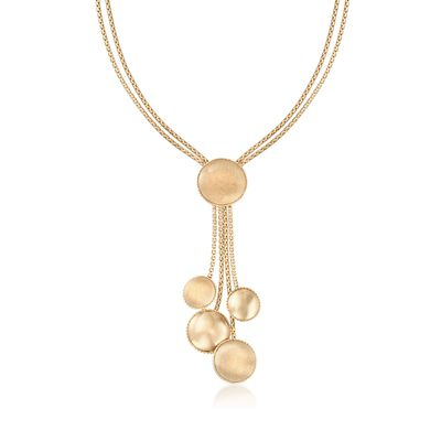 Italian 14kt Yellow Gold Textured and Polished Multi-Disc Layered Necklace, , default